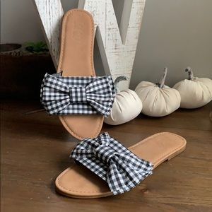 By The Way Bow Plaid Gingam preppy slides size 8